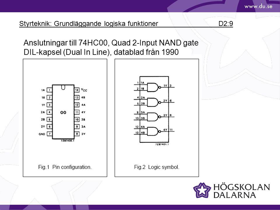 Styrteknik: Grundläggande logiska funktioner D2:9