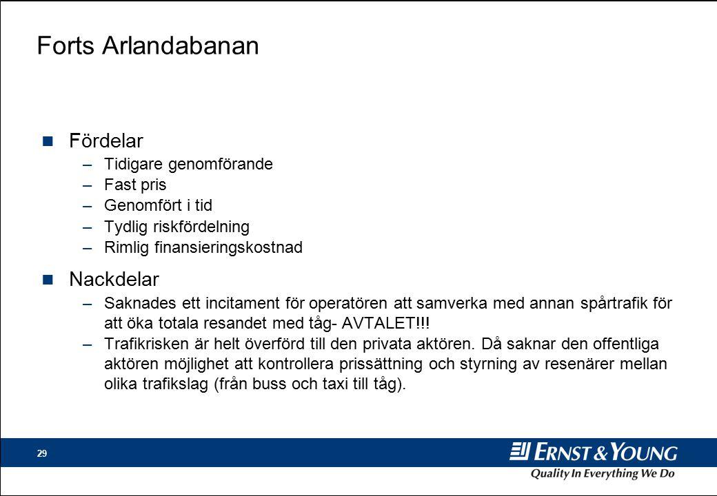 Forts Arlandabanan Fördelar Nackdelar Tidigare genomförande Fast pris