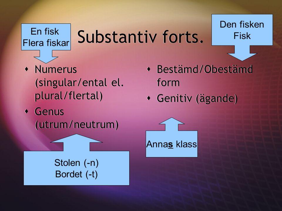 Substantiv forts. Numerus (singular/ental el. plural/flertal)