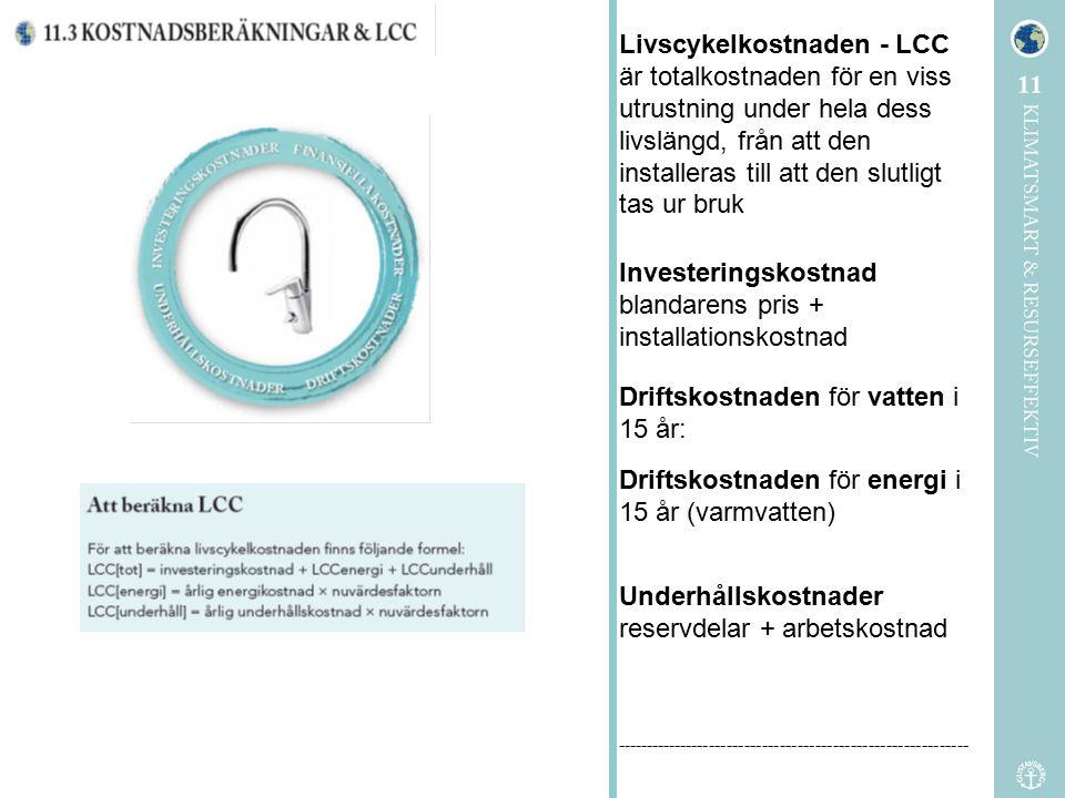 Livscykelkostnaden - LCC