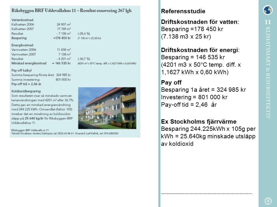 Driftskostnaden för vatten: Besparing =178 450 kr (7.138 m3 x 25 kr)