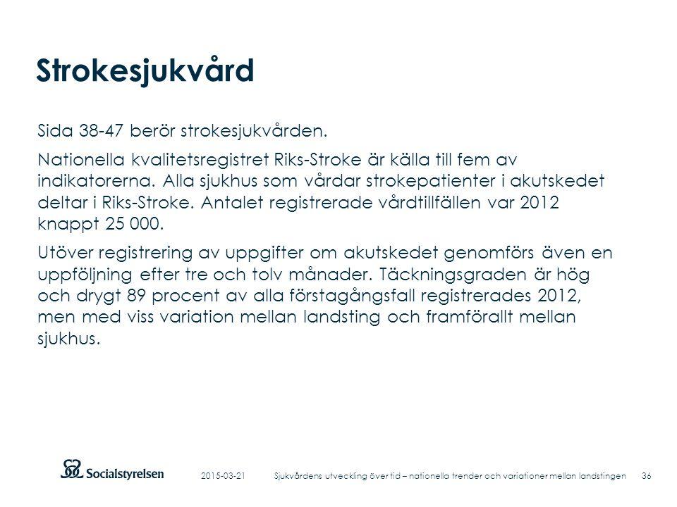 Strokesjukvård Sida 38-47 berör strokesjukvården.