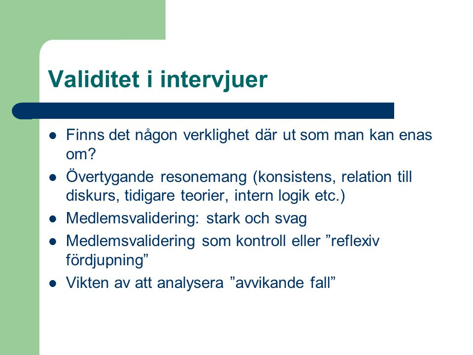 Validitet i intervjuer