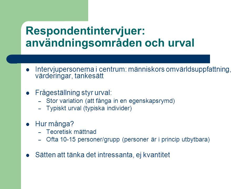 Respondentintervjuer: användningsområden och urval