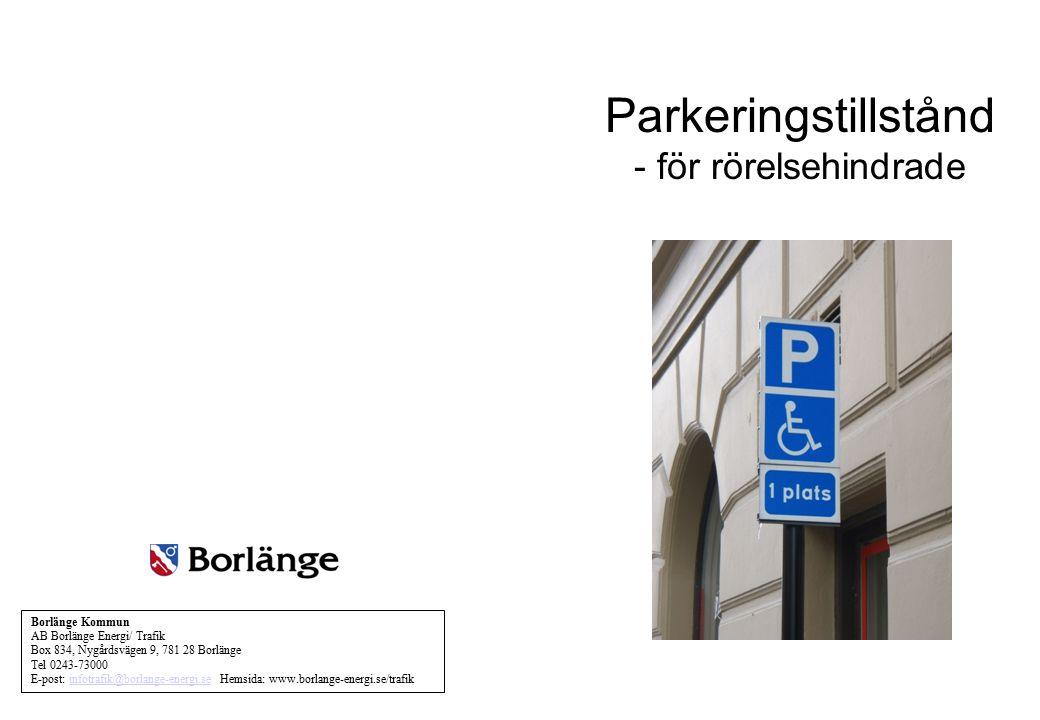 Parkeringstillstånd - för rörelsehindrade