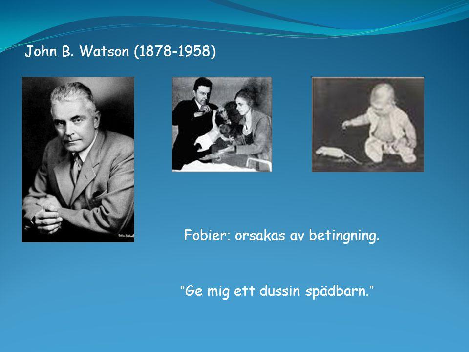 John B. Watson (1878-1958) Fobier: orsakas av betingning. Ge mig ett dussin spädbarn.