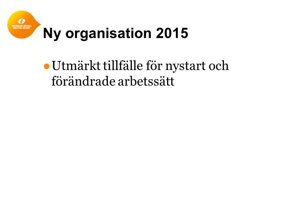 Ny organisation 2015 Utmärkt tillfälle för nystart och förändrade arbetssätt
