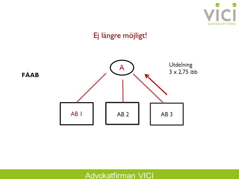 Ej längre möjligt! A FÅAB Utdelning 3 x 2,75 ibb AB 1 AB 2 AB 3