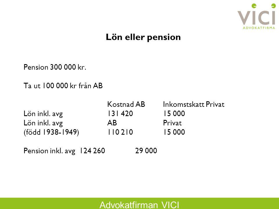 Lön eller pension Pension 300 000 kr. Ta ut 100 000 kr från AB