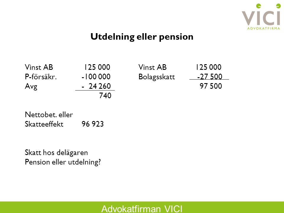 Utdelning eller pension