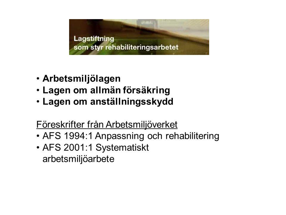 Arbetsmiljölagen Lagen om allmän försäkring. Lagen om anställningsskydd. Föreskrifter från Arbetsmiljöverket.