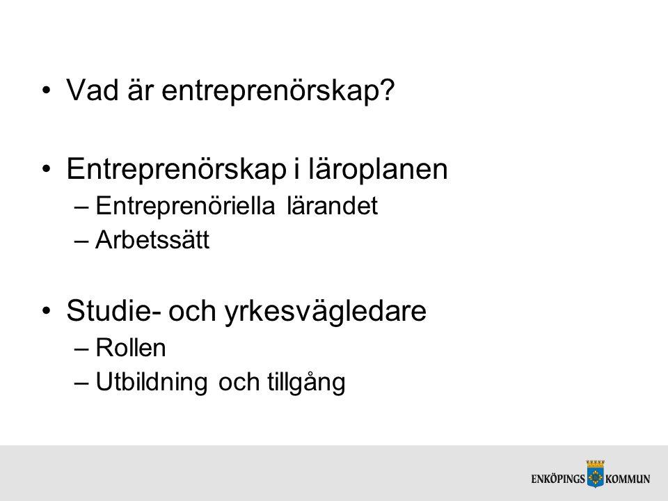 Vad är entreprenörskap Entreprenörskap i läroplanen