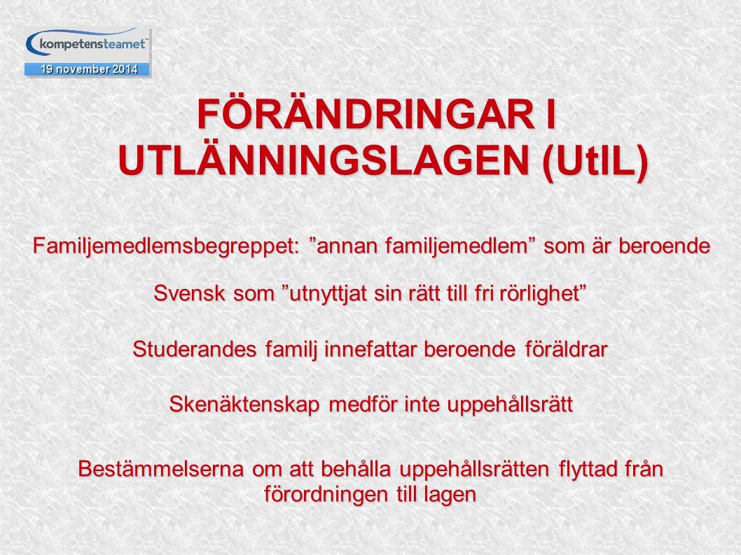 FÖRÄNDRINGAR I UTLÄNNINGSLAGEN (UtlL)