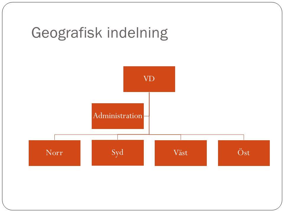 Geografisk indelning VD Norr Syd Väst Öst Administration