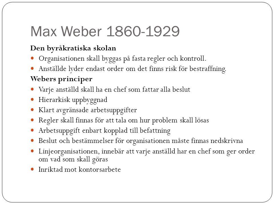 Max Weber 1860-1929 Den byråkratiska skolan