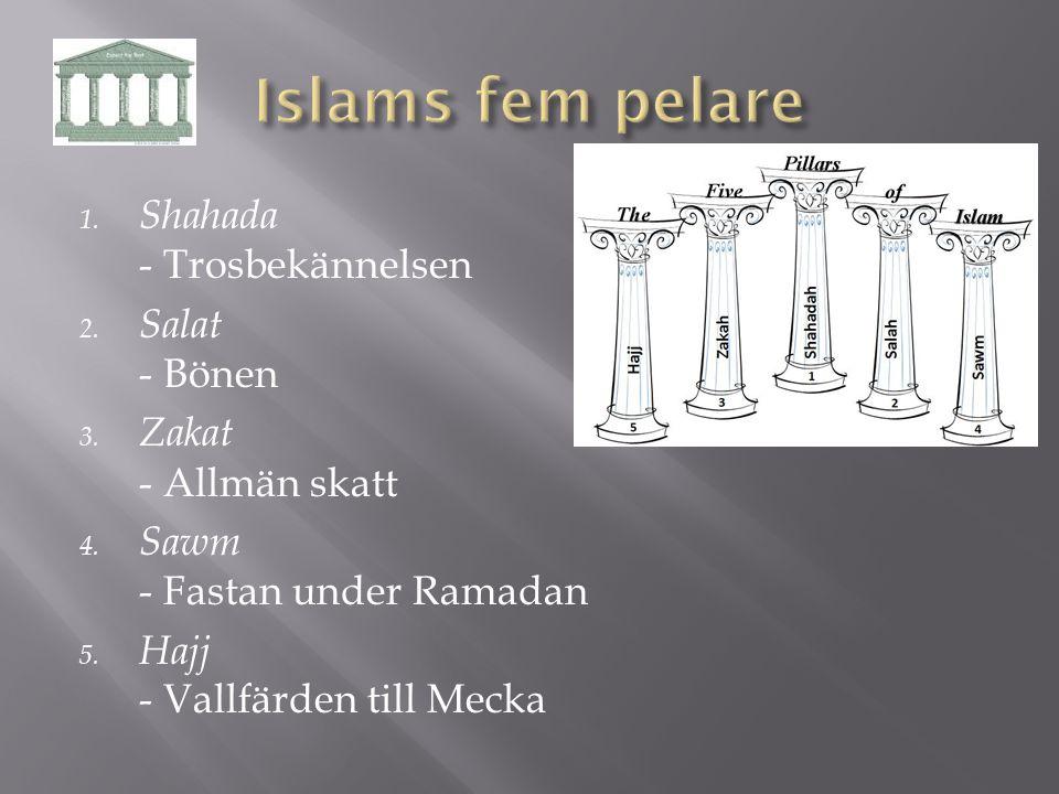 Islams fem pelare Shahada - Trosbekännelsen Salat - Bönen