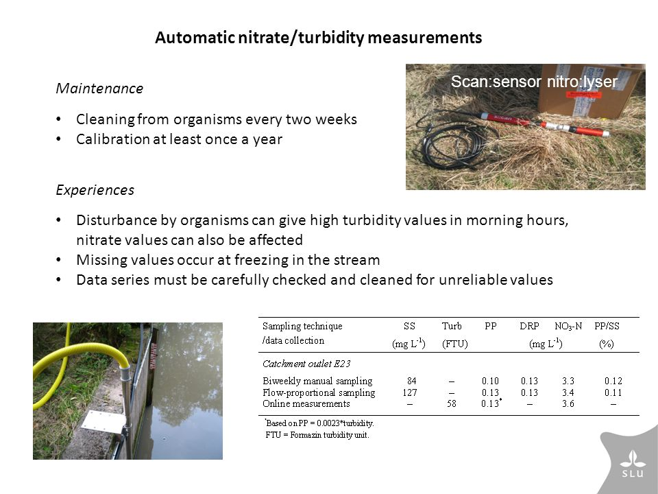 Automatic nitrate/turbidity measurements