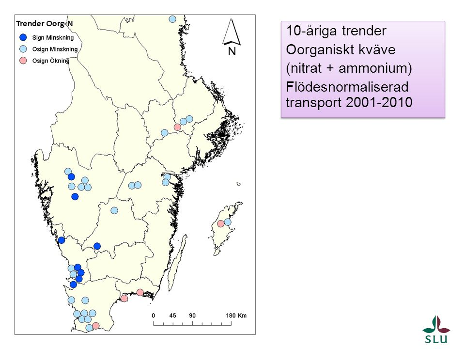 10-åriga trender Oorganiskt kväve (nitrat + ammonium) Flödesnormaliserad transport 2001-2010