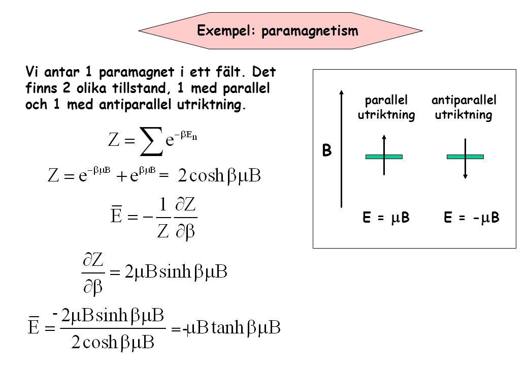Exempel: paramagnetism