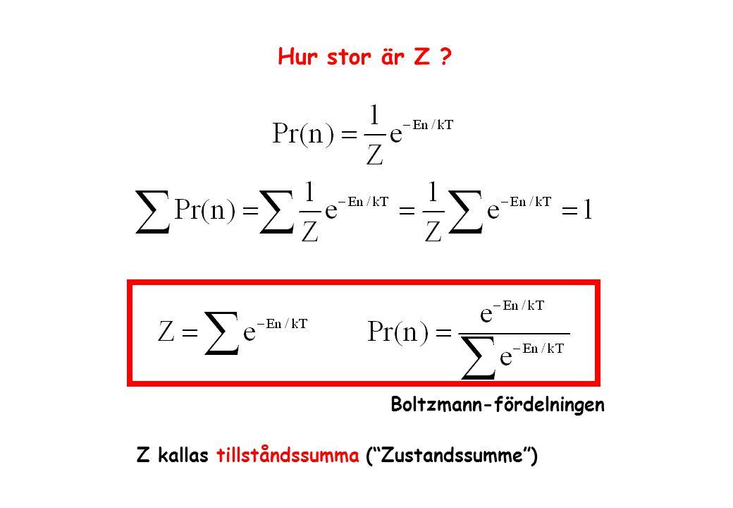Hur stor är Z Boltzmann-fördelningen