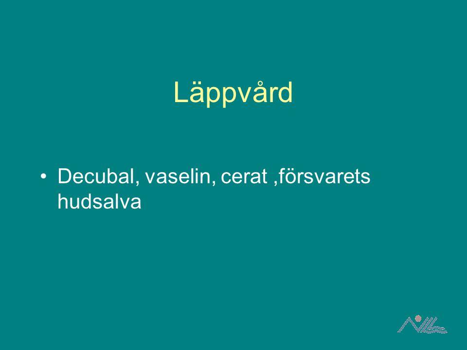 Läppvård Decubal, vaselin, cerat ,försvarets hudsalva