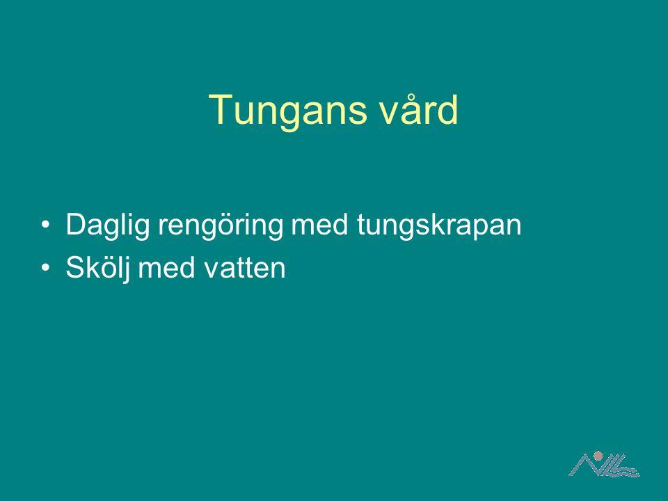Tungans vård Daglig rengöring med tungskrapan Skölj med vatten
