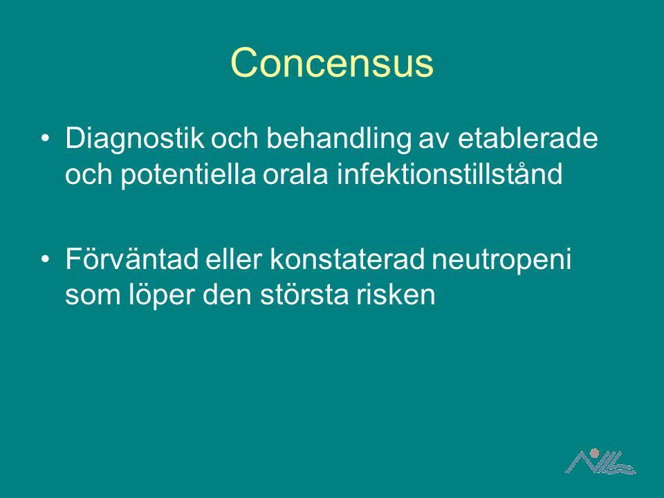 Concensus Diagnostik och behandling av etablerade och potentiella orala infektionstillstånd.