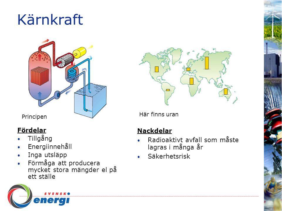 Kärnkraft Fördelar Tillgång Energiinnehåll Inga utsläpp