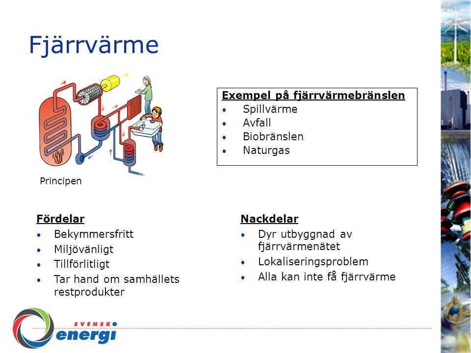 Fjärrvärme Exempel på fjärrvärmebränslen Spillvärme Avfall Biobränslen