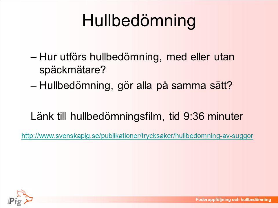 Hullbedömning Hur utförs hullbedömning, med eller utan späckmätare