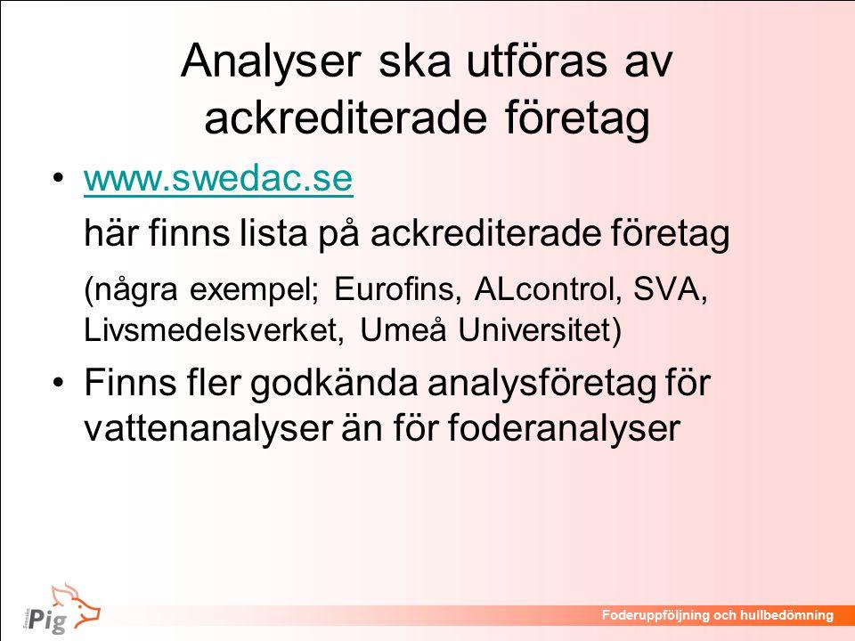Analyser ska utföras av ackrediterade företag