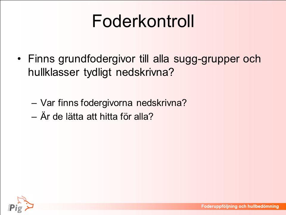 Foderkontroll Finns grundfodergivor till alla sugg-grupper och hullklasser tydligt nedskrivna Var finns fodergivorna nedskrivna
