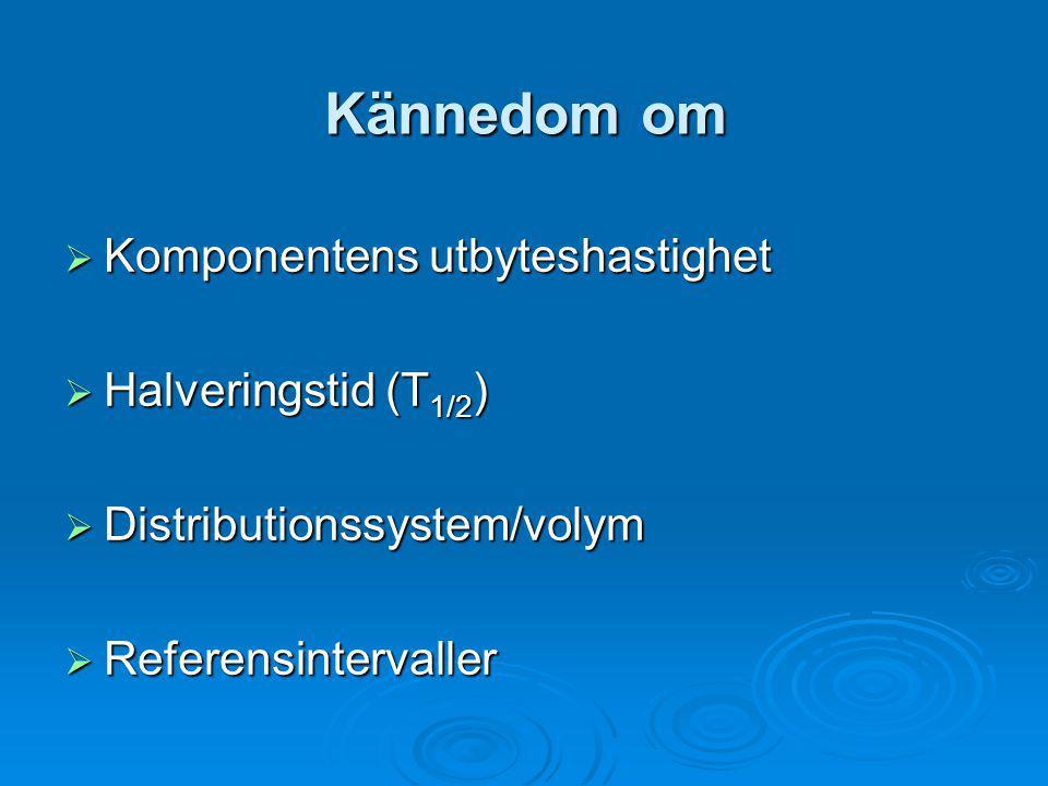 Kännedom om Komponentens utbyteshastighet Halveringstid (T1/2)