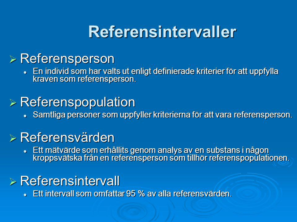 Referensintervaller Referensperson Referenspopulation Referensvärden