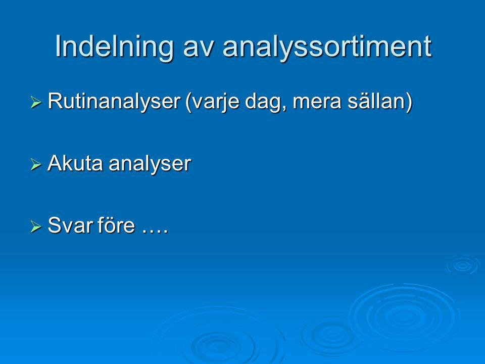 Indelning av analyssortiment