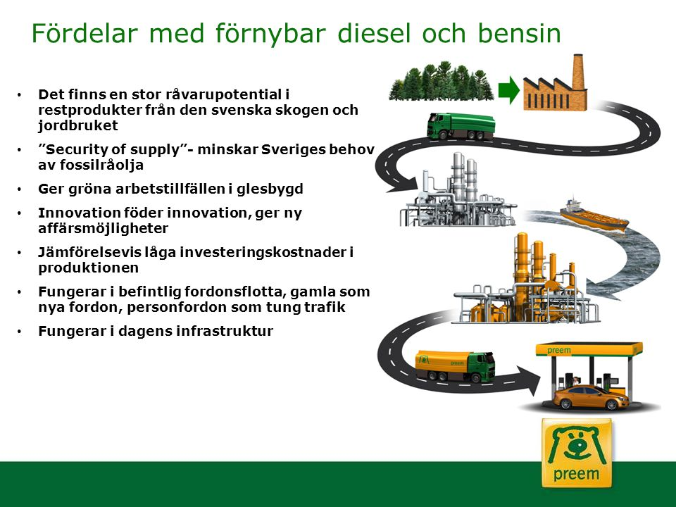 Fördelar med förnybar diesel och bensin