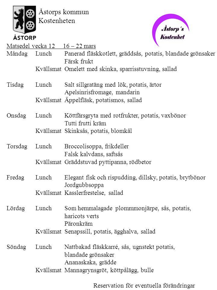 Åstorps kommun Kostenheten Matsedel vecka 12 16 – 22 mars