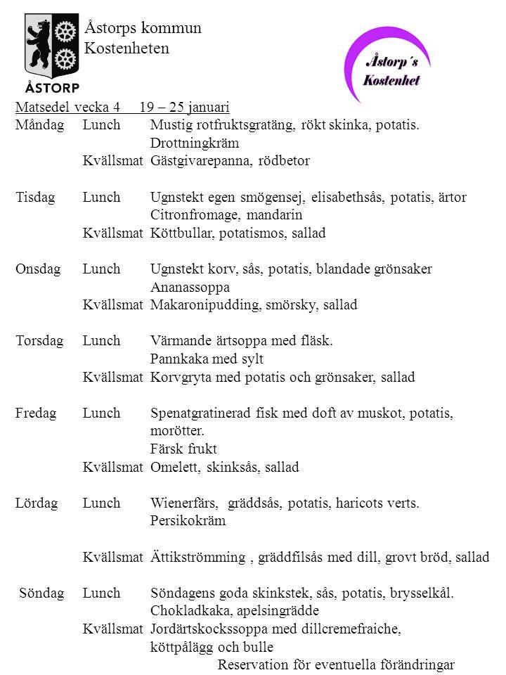 Åstorps kommun Kostenheten Matsedel vecka 4 19 – 25 januari