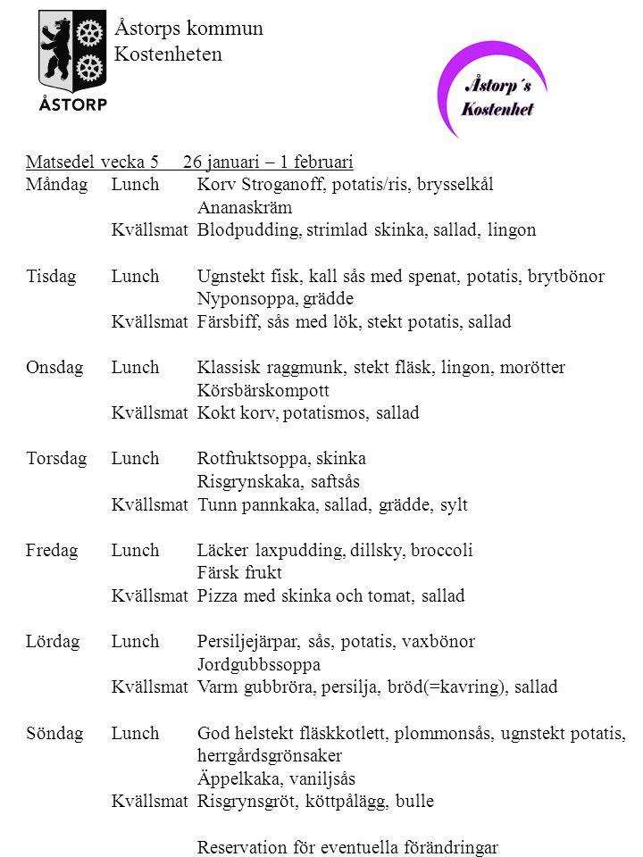 Åstorps kommun Kostenheten Matsedel vecka 5 26 januari – 1 februari
