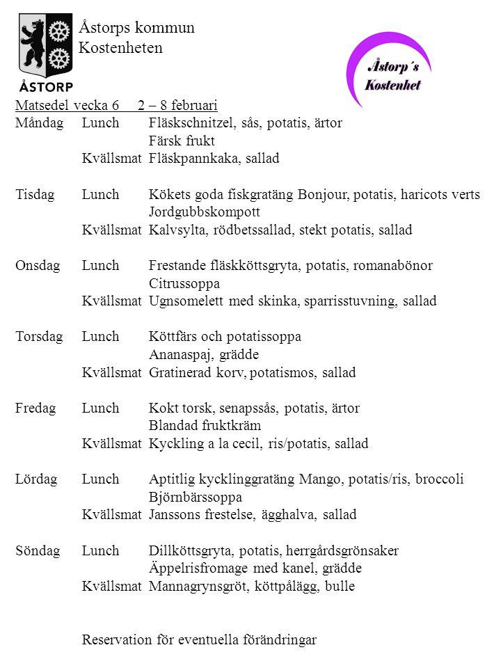 Åstorps kommun Kostenheten Matsedel vecka 6 2 – 8 februari
