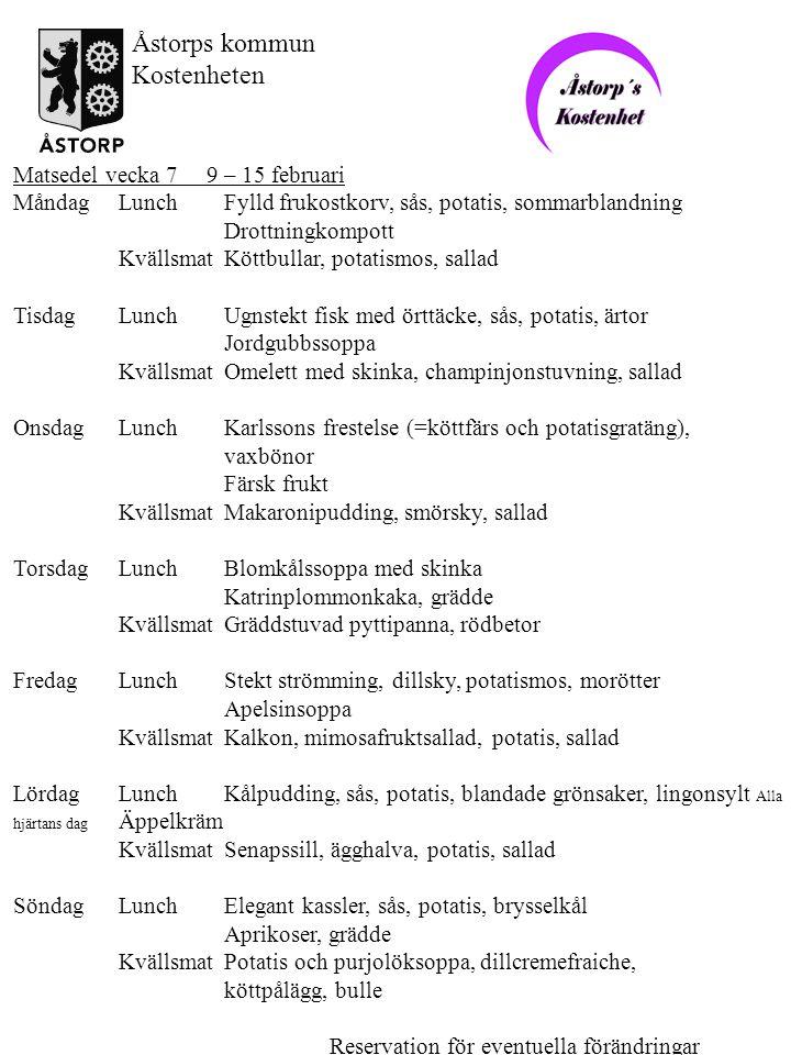 Åstorps kommun Kostenheten Matsedel vecka 7 9 – 15 februari
