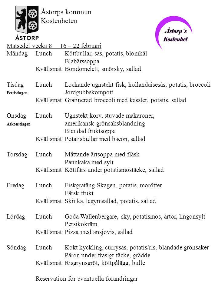 Åstorps kommun Kostenheten Matsedel vecka 8 16 – 22 februari