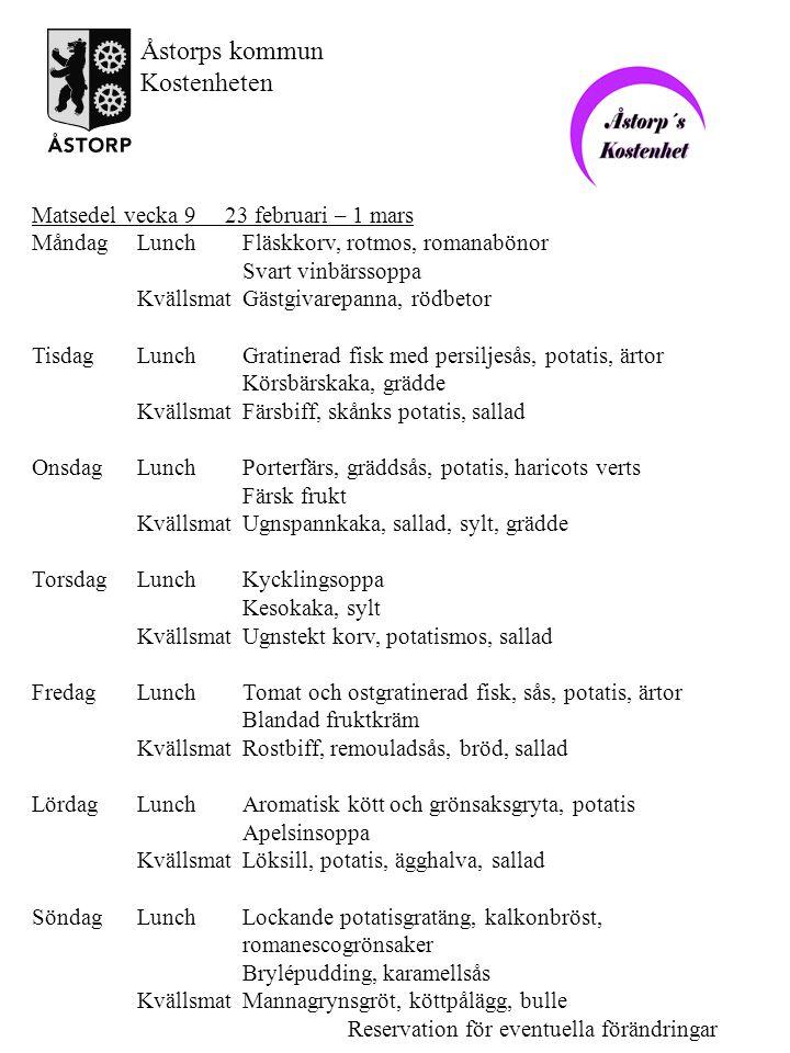Åstorps kommun Kostenheten Matsedel vecka 9 23 februari – 1 mars