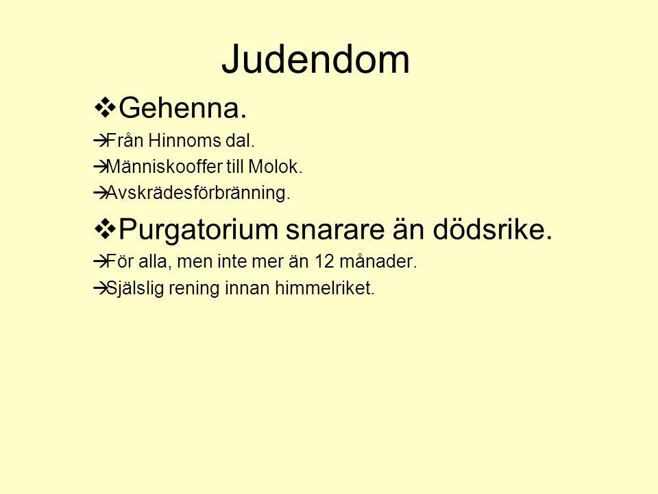 Judendom Gehenna. Purgatorium snarare än dödsrike. Från Hinnoms dal.