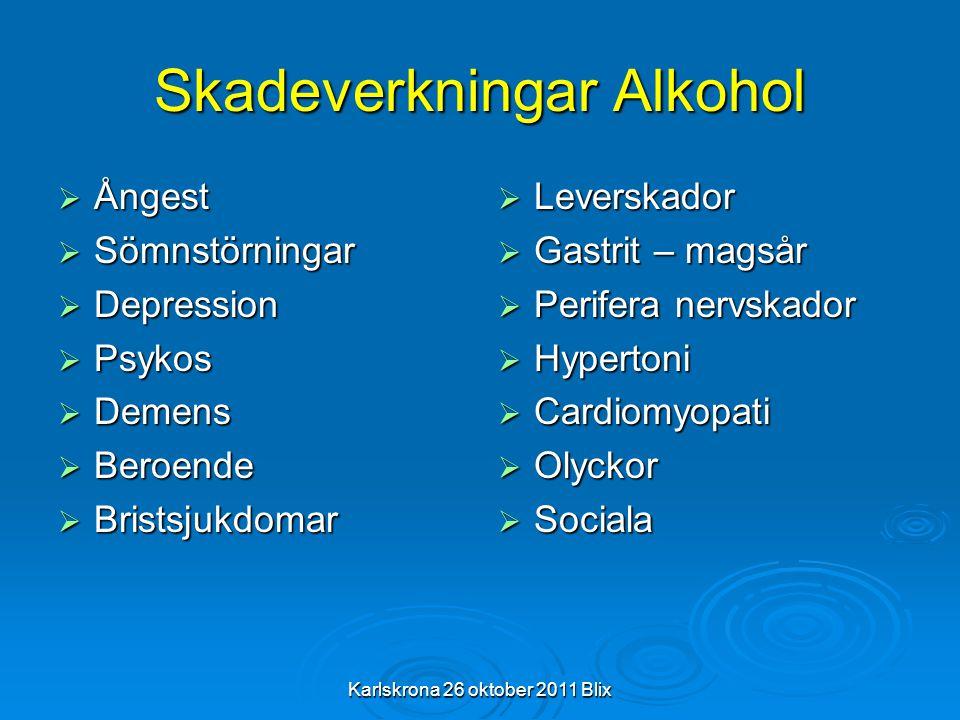 Skadeverkningar Alkohol