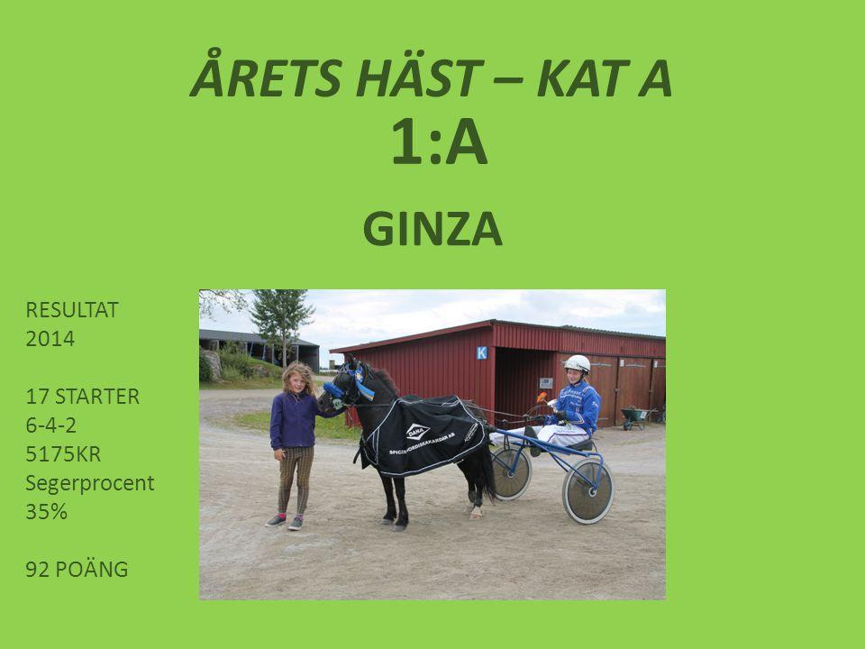 1:A ÅRETS HÄST – KAT A GINZA RESULTAT 2014 17 STARTER 6-4-2 5175KR