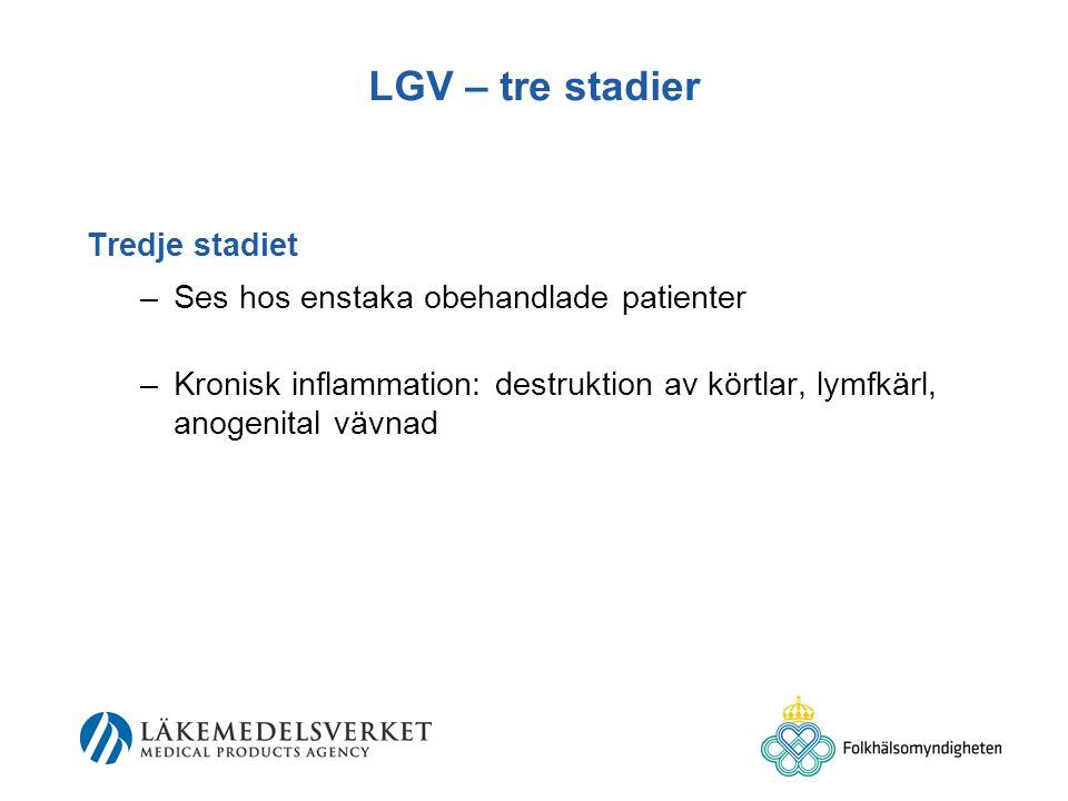 LGV – tre stadier Tredje stadiet Ses hos enstaka obehandlade patienter