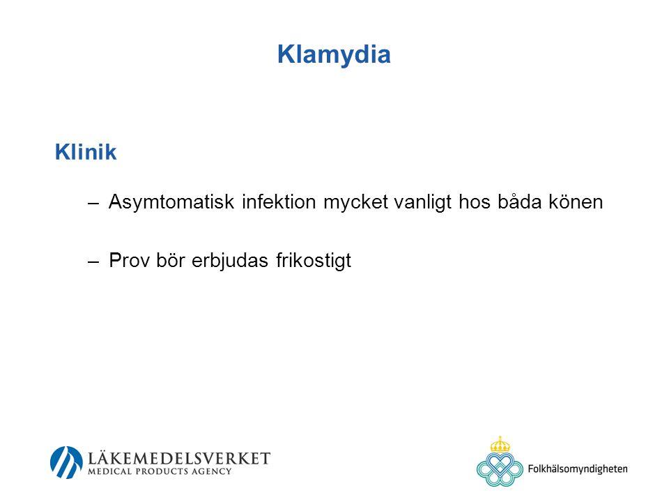 Klamydia Klinik Asymtomatisk infektion mycket vanligt hos båda könen