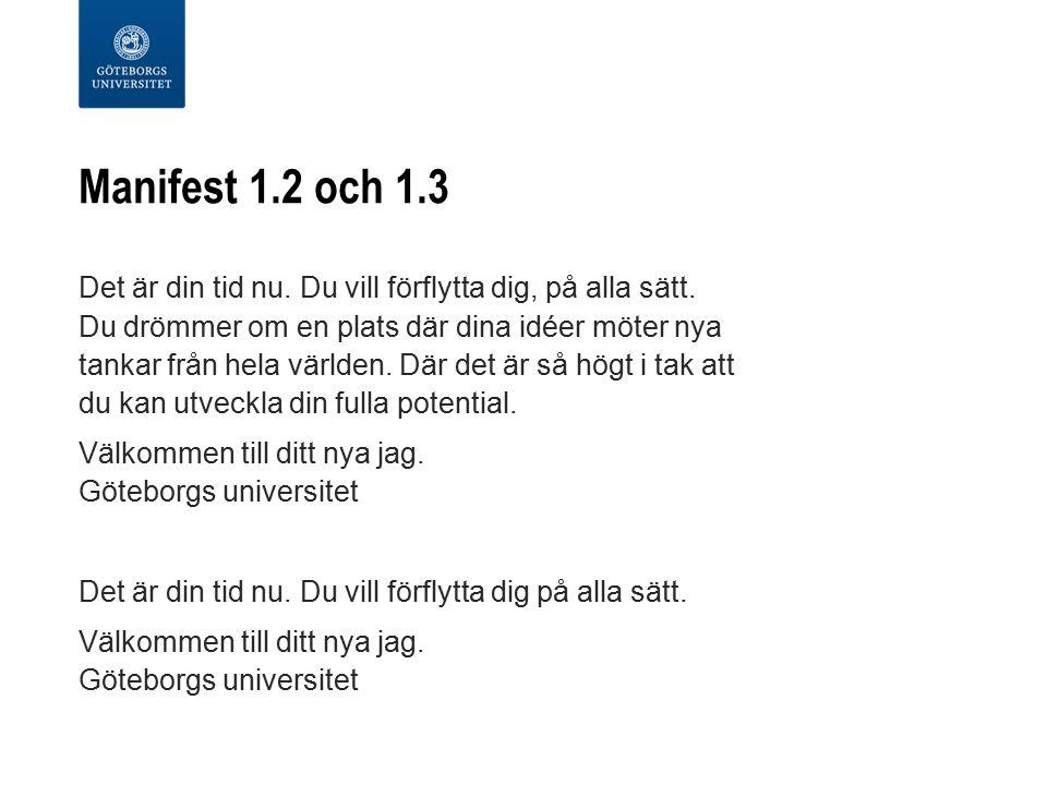 Manifest 1.2 och 1.3