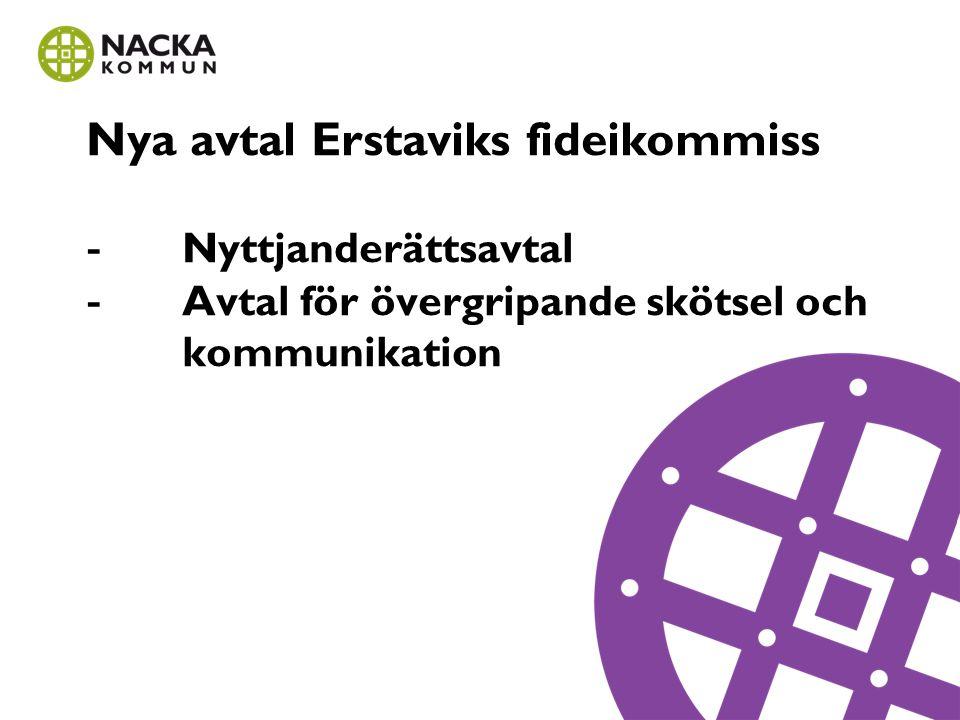 Nya avtal Erstaviks fideikommiss -. Nyttjanderättsavtal -